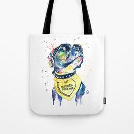 Pitbull, Pit Bull Watercolor Pet Portrait Pinting - Diesel Tote Bag