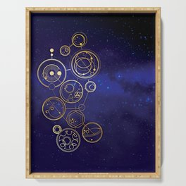 Gallifrey Gold Space Geometry Serving Tray