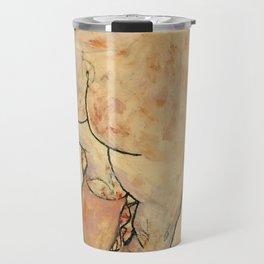 """Egon Schiele """"Female Nude Pulling up Stockings, Back View"""" Travel Mug"""