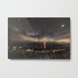 Milky way and the Twin lights Metal Print