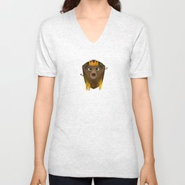 """""""The Warlord Bear"""" Black Textured Background Unisex V-Neck"""