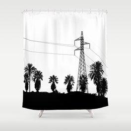 Power Pole Between Palms Shower Curtain