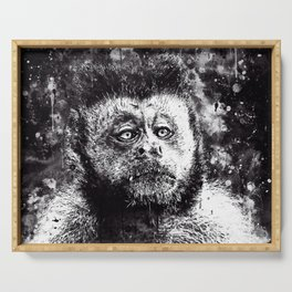 bored monkey wsbw Serving Tray