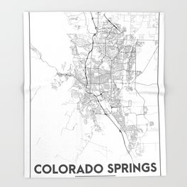 Minimal City Maps - Map Of Colorado Springs, Colorado, United States Throw Blanket