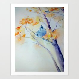 Nuthatch Aspen Morning Looking Up watercolour by CheyAnne Sexton Art Print