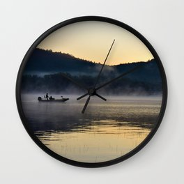 Fishing in the Morning Mist Wall Clock