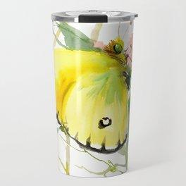 Soft Yellow Butterfly and Pink Flower, pink turquoise lemon yellow girls room art, design Travel Mug