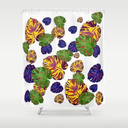 GREEN-GOLD-PURPLE TROPICAL LEAVES ART Shower Curtain