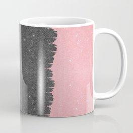 Pretty Girly Pink Black Faux Glitter Brushstroke Coffee Mug