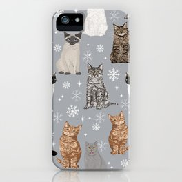 Cat breeds snowflakes winter cuddles with kittens cat lover essential cat gifts iPhone Case