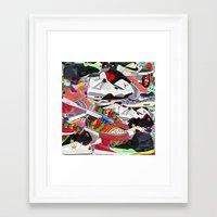 sneakers Framed Art Prints featuring SNEAKERS by OLKA OSADZIŃSKA WWW.ALEOSA.COM