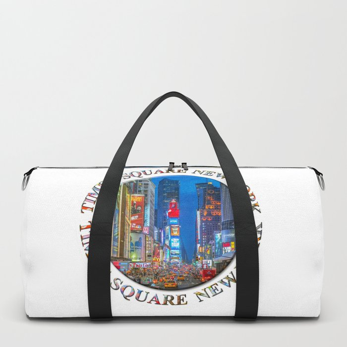 Times Square Broadway (New York Badge Emblem on white) Duffle Bag