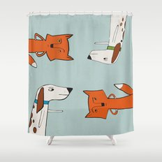 The fox and the hound look disgruntled at one another. Shower Curtain