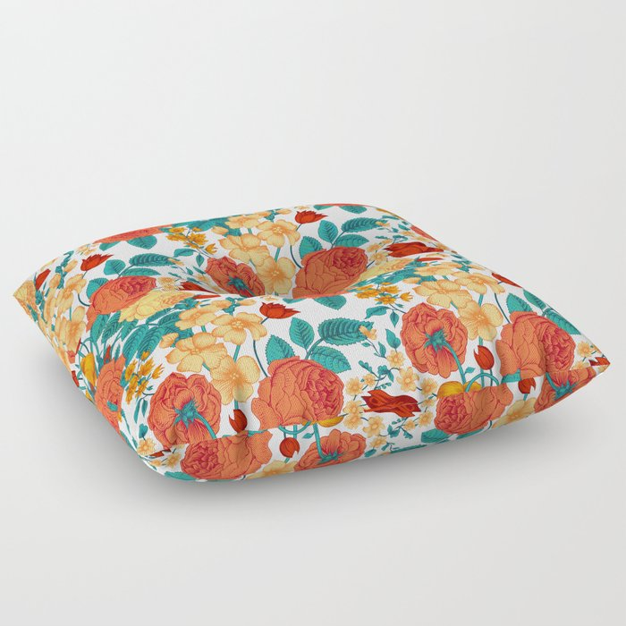 Vintage flower garden Floor Pillow