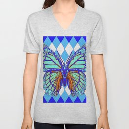 ABSTRACTED BLUE MONARCH BUTTERFLY PATTERN Unisex V-Neck