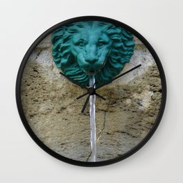 Green Lion by Lika Ramati Wall Clock