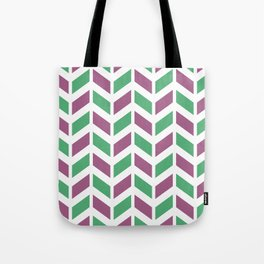 Dark pink, green and white chevron pattern Tote Bag