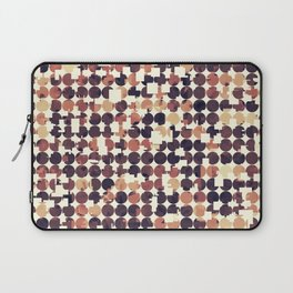 geometric square and circle pattern abstract in brown Laptop Sleeve