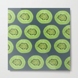Kiwi pattern home decor interior design minimal cement polka dots graphite gray Metal Print