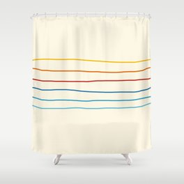 Bright Classic Abstract Minimal 70s Rainbow Retro Summer Style Stripes #1 Shower Curtain