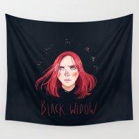 black widow Wall Tapestries featuring Black Widow by Galaxyspeaking