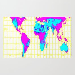 World Map: Gall Peters Colorful Rug
