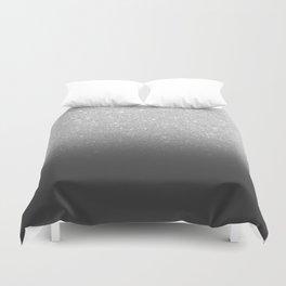 Modern faux silver glitter ombre grey black color block Duvet Cover