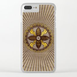 Seal of Shamash - Wood burned with gold accents Clear iPhone Case