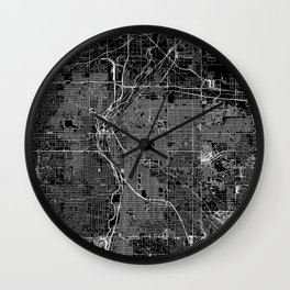 Denver Black Map Wall Clock