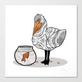 Pelican & Goldfish Bowl, Funny Animal Illustration, Black and White Cute Bird & Fish Graphic Design Canvas Print