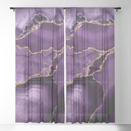 Glamour Purple Bohemian Watercolor Marble With Glitter Veins Sheer Curtain