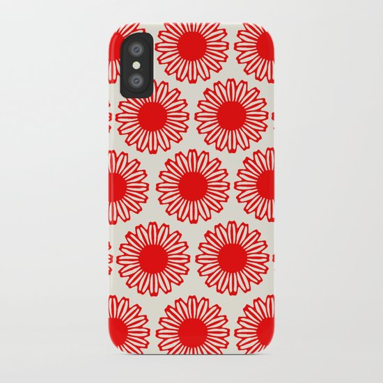 vintage flowers red iPhone Case