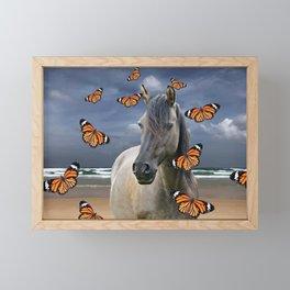 Grey Horse on Beach with orange Butterflies #society6 Framed Mini Art Print