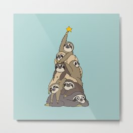Christmas Tree  Sloths Metal Print