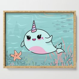 Cute Narwhal and Starfish Serving Tray