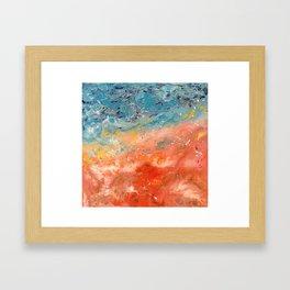 AUSTRALIA COASTLINE - Original abstract painting by HSIN LIN / HSIN LIN ART Framed Art Print