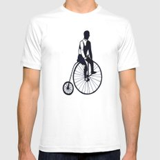 Vintage Bike White MEDIUM Mens Fitted Tee