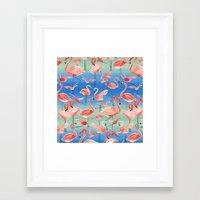 flamingos Framed Art Prints featuring Flamingos  by Ninola