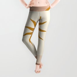 Mid Century Magic Window Frame Golden Sun Over The blue Nile Contemporary Trendy Style Pink Pastel Hues Leggings