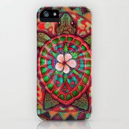 Neon Turtle by Julie Oakes iPhone Case
