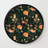 foxes Wall Clocks featuring Foxes by Julia Badeeva