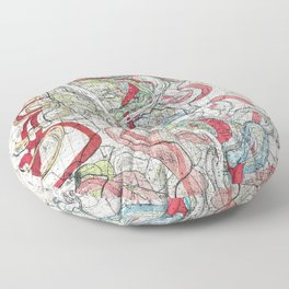 Beautiful Vintage Map of the Mississippi River Floor Pillow