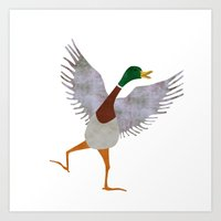 duck Art Prints featuring Duck by Jade Young Illustrations
