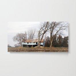 Wind Blown trees and barn Metal Print