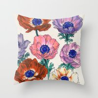 poppies Throw Pillows featuring poppies by Ania