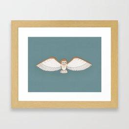 Barn Owl in Teal Framed Art Print