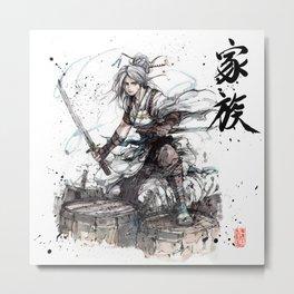 Samurai Girl with Japanese Calligraphy - Family - Ciri Parody Metal Print
