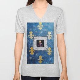 Portrait of youth Mozart on blue canvas with Fleur-de-lis by Ksavera Unisex V-Neck