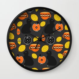 Cats, lemons and teacups Wall Clock