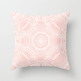 Pink Rose Ethnic Mandala Pattern Throw Pillow